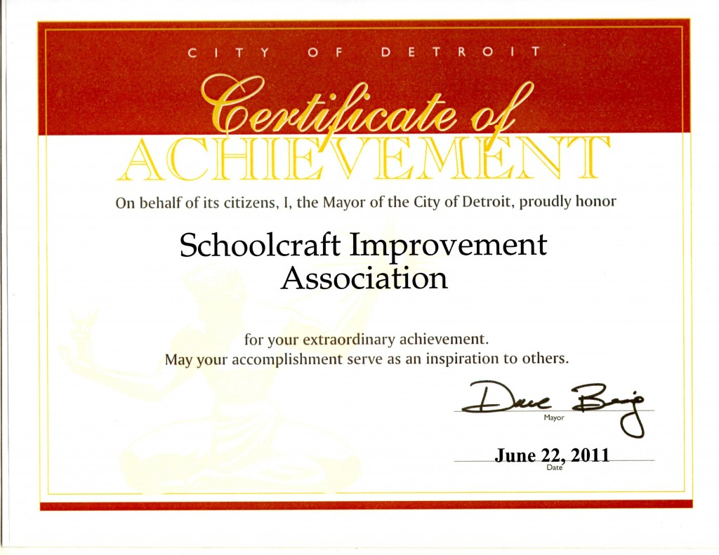 Certificate from City Detroit